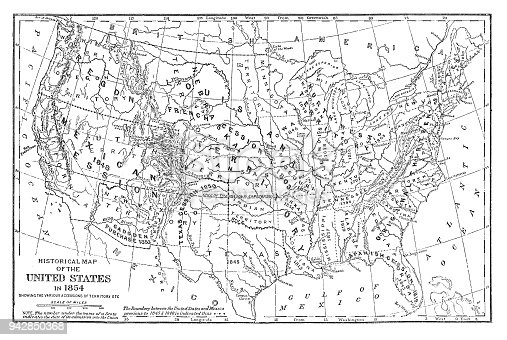 Historical Map Of The United States In 1854 Stock Vector Art & More ...