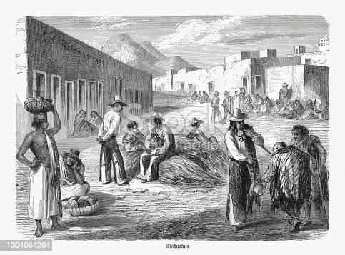 Escena histórica del mercado en Chihuahua, México, grabado en madera, publicado en 1893