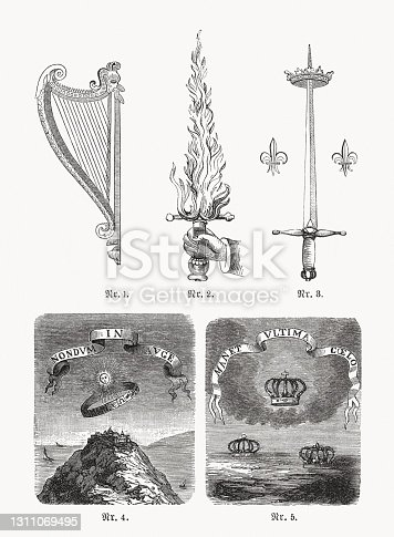 istock Historical mottoes, wood engravings, published in 1893 1311069495
