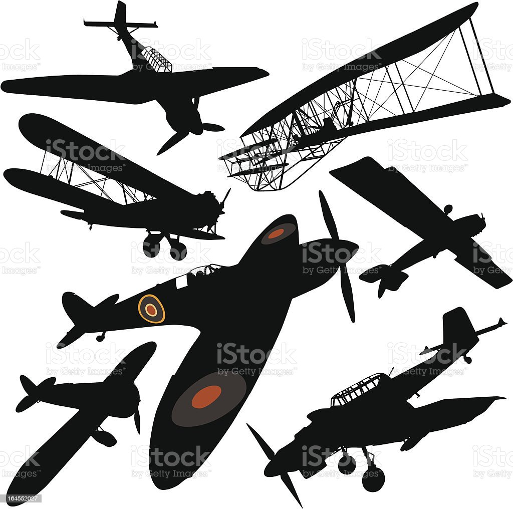 Historical Plane Collection vector art illustration