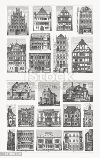 Historical residential buildings from the gothic and renaissance (top): 1) Gothic brick building (Greifswald, Germany); 2) Gothic stone building (Frankfurt/Main, Germany); 3) Hütte'sches Haus (1565, Höxter, Germany); 4) Gothic wooden building (Amiens, France); 5) Gothic palace (Ca' d'Oro, Venice, Italy); 6) Pellerhaus (1605, Nuremberg, Germany); 7) Palazzo Vendramin-Calergi (1509, Venice, Italy); 8) Golden House (Speymannhaus, 1609, Gdansk, Poland); 9) Northeimhaus (Einbeck, Lower Saxony, Germany). 19th centur, bottom: 1) American country house; 2) German country house (Berlin); 3) Detached residential building (Battle, East Sussex, England); 4) Villa (Cologne, Germany); 5) Terraced house (London, England); 6) Villa (Dresden, Germany); 7) Terraced single-family house (Berlin, Germany); 8) Villa (Düssledorf, Germany); 9) Porch of an english villa; 10) Terraced tenement house (Karlsruhe, Germany); 11) Detached residential building (Dresden); 12) Semi-built tenement house (Berlin); 13) Entrance and oriel (England). Wood engravings, published in 1897.