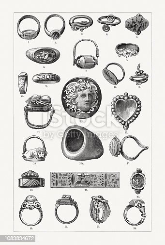 Historical rings: 1+3) Ancient Egyptian glazed clay ring; 2) Golden ring of an ethiopian queen (Roman Empire); 4) Greek bronze ring (8th century BC); 5) Gold ring from Mycenae (12th - 15th centur BC); 6) Gold ring with cut sardonyx (Rome, early imperial period); 7) Ancient Egyptian signet ring with rotatable seal; 8) Greek gold ring (6th century BC); 9) Gilded bronze ring (Roman Empire); 10) Greek ring (4th century BC); 11) Greek gold ring (prosperity period); 12-12a) Roman ring with cameo (during emperor Augustus); 13-15) Etruscan gold rings (5th to 6th century BC); 16) Indian Mirror Ring for women (Bronze); 17) Signet ring of an Indian Brahmin (gold); 18) Anglo-Saxon engagement ring; 19) English amulet ring (15th century); 20) Ring of Henry Stuart, Lord Darnley (Scotland); 21) Ring of Frederick the Great (Prussia); 22-23) Wedding rings of Martin Luther and Katharina von Bora; 24) Ring of Charles I of England. Wood engravings, published in 1897.