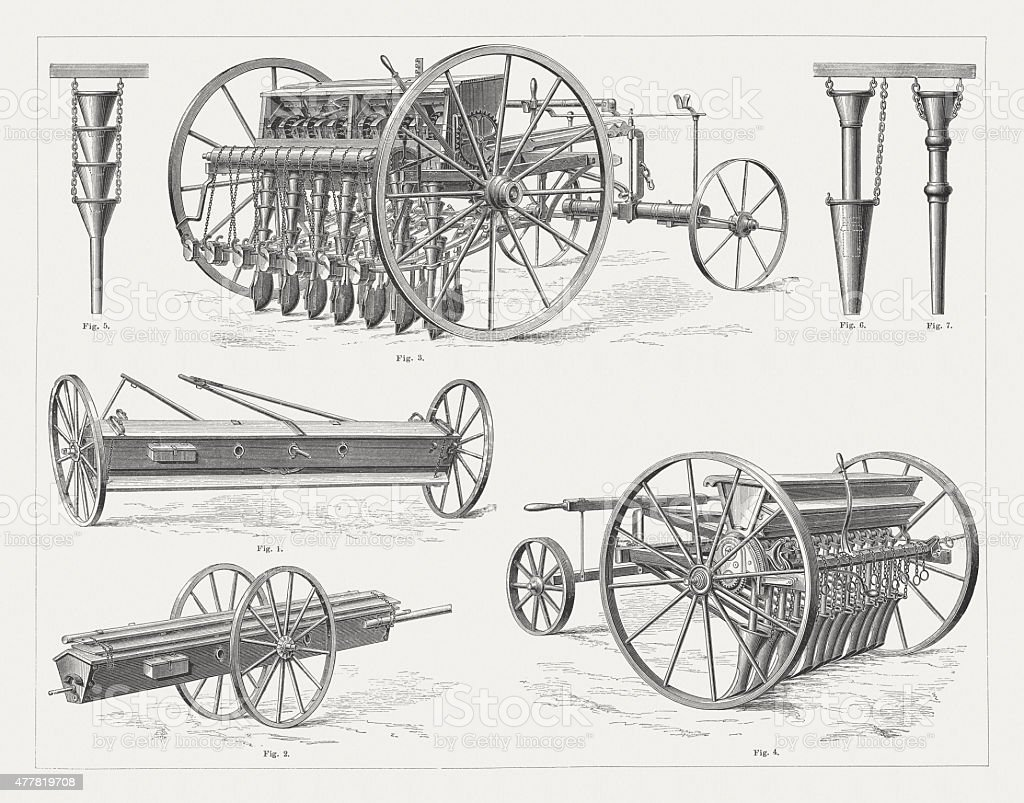 Historical seed drills, wood engravings, published in 1878 vector art illustration