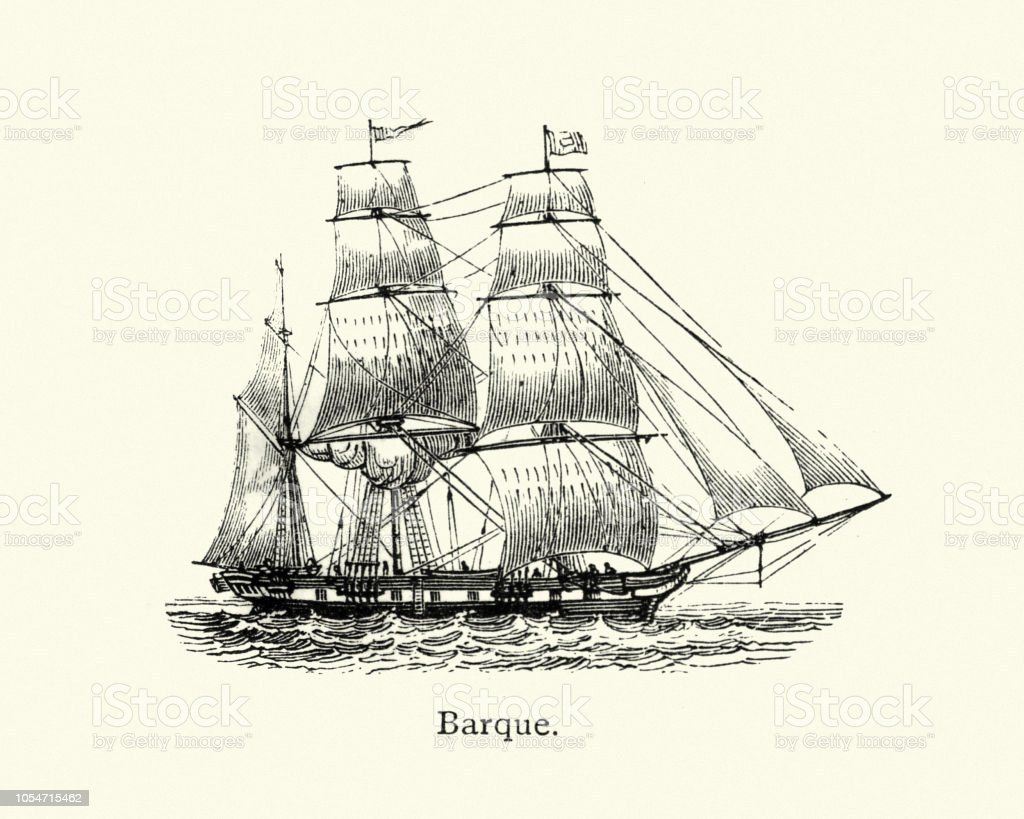 Historical Ships Barque 19th Century Stock Illustration