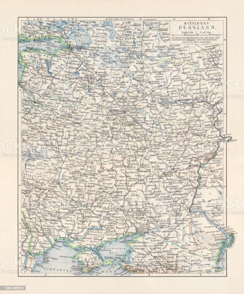 Historical Topographic Map Of European Russia Center Lithograph