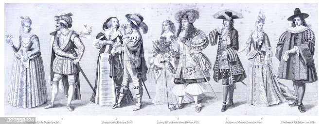 istock Historical traditional period costumes France Dutch 17th century 1322558424
