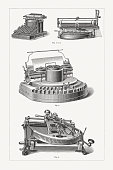 Historical typewriters: 1-2) Yost Writing Machine Company, New York, USA (1873), overall view (1), Paper roller with adjustment tool; 3) Hammond Typewriter, invented by James Bartlett Hammond, USA (1881); 4) Typewriter \