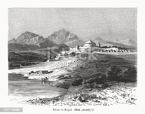 istock Historical view of Adwa, Tigray, Ethiopia, wood engraving, published 1891 1227193601