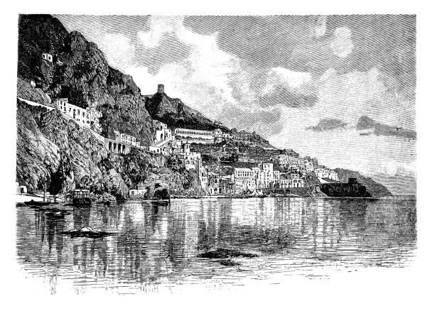 bildbanksillustrationer, clip art samt tecknat material och ikoner med historisk syn på amalfi, italien - amalfi