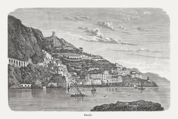 bildbanksillustrationer, clip art samt tecknat material och ikoner med historisk vy över amalfi, italien, trägravyr, publicerad 1893 - amalfi