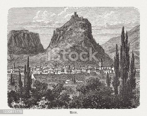 istock Historical view of Arco, Trentino, Italy, wood engraving, published in 1893 1220811775