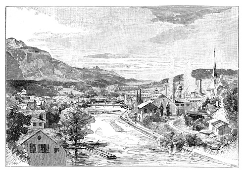 Illustration of a Historical view of Bad Ischl, Austria