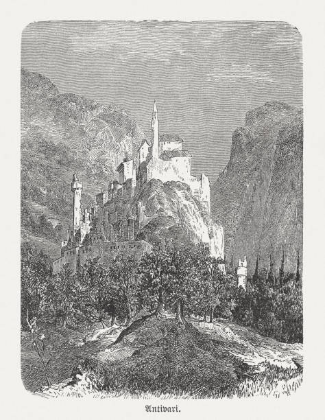 黑山酒吧(安提瓦里)的歷史觀,木雕,出版於1893年 - bar 幅插畫檔、美工圖案、卡通及圖標