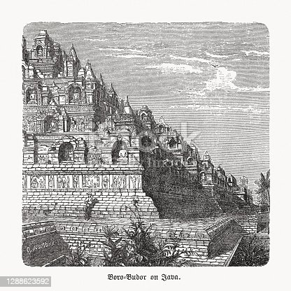 istock Historical view of Borobudur, Java, Indonesia, wood engraving, published 1893 1288623592