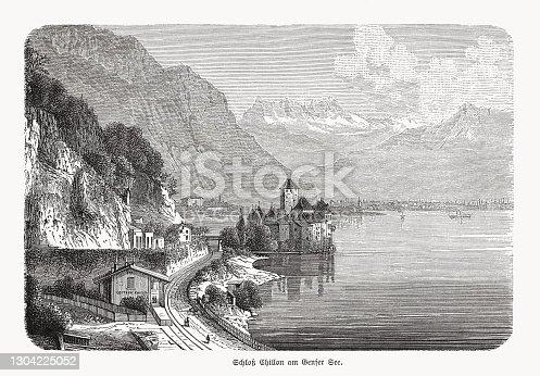 istock Historical view of Chillon Castle, Lake Geneva, Switzerland, woodcut, 1893 1304225052