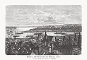 istock Historical view of Istanbul, Turkey, wood engraving, published in 1893 1278961849