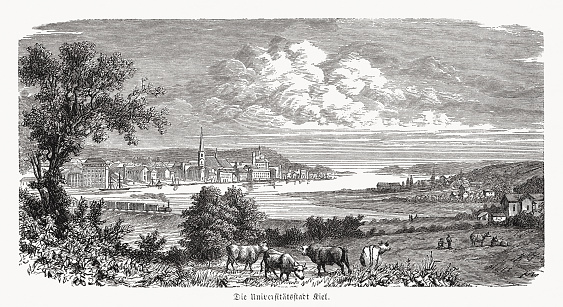 Historical view of Kiel, Schleswig-Holstein, Germany, wood engraving, published 1868