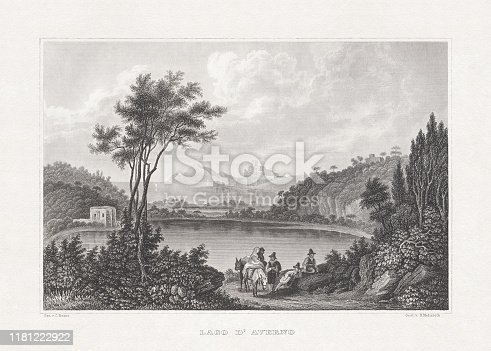 istock Historical view of Lago d'Averno, Italy, steel engraving, published 1860 1181222922