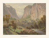 Historical view of Lauterbrunnen, Bernese Oberland, Switzerland. Chromolithograph after a watercolor by Ludwig Robock (German painter, 1824 - 1893), published ca. 1872.