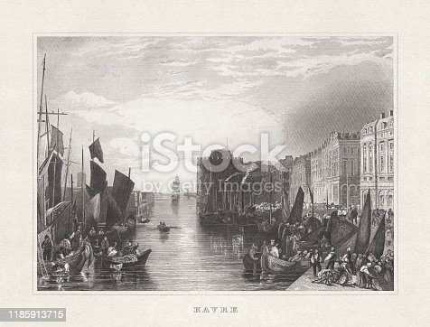 Historical view of Le Havre, Normandy, France. Steel engraving after a drawing by Joseph Mallord William Turner (English painter, 1775 - 1851), published in 1857.