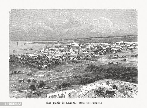istock Historical view of Luanda, Angola, wood engraving, published in 1897 1144999668