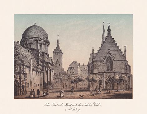 Historical view of Nuremberg, Franconia, Bavaria, Germany, chromolithograph, published 1868