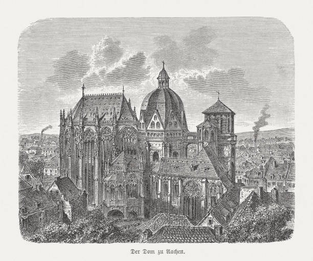 Historical view of the Aachen Cathedral, wood engraving, published 1893 Historical view of the Aachen Cathedral - Roman Catholic church in Aachen, North Rhine-Westphalia, Germany and one of the oldest cathedrals in Europe. Constructed by order of the emperor Charlemagne, who was buried there in 814. From 936 to 1531, the Palatine Chapel saw the coronation of thirty-one German kings and twelve queens. The church has been the mother church of the Diocese of Aachen since 1802. Wood engraving, published in 1893. lachen stock illustrations