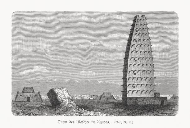 historischer blick auf die agadez-moschee, niger, holzschnitt, erschienen 1897 - aerial view soil germany stock-grafiken, -clipart, -cartoons und -symbole