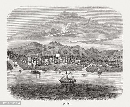 istock Historical view of the Indian city Kozhikode (Calicut), 16th century 1211812024