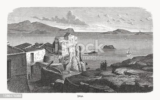 istock Historical view of the Spanish island Ibiza, woodcut, published 1893 1286475365