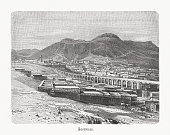 Historical view of Zacatecas in Mexico, wood engraving, published 1897