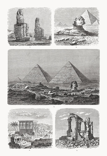 Historical views of ancient Egyptian monuments: 1) Colossi of Memnon; 2 - 3) Great sphinx of giza and pyramids; 4) The temple of Isis (Philae Island); 5) Ruins of the Kardassy Temple (Kiosk of Qertassi, today New Kalabsha). Wood engravings, published in 1893.