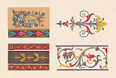 Historische ornaments: 1) Gothic manuscript and Romanesque border; 2) Borders: Persian (top and below) and Italian renaissance (center); 3-4) Italian renaissance (Mural paintings, Jules Romans, Mantua). Chromolithograph, published in 1881.