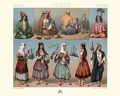 History, fashion, Traditional costumes of Persia, Serving women, Tea, Coffee