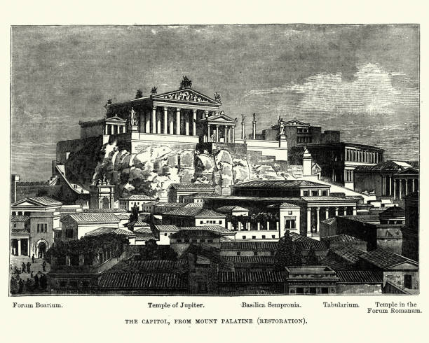 History of Ancient Rome - Capitol from Mount Palatine Vintage engraving of a scene from ancient rome, Capitol from Mount Palatine. Also showing the Forum Boarium, Temple of Jupiter, Basilica Sempronia, Tablarium and the Temple in the forum Romanum palatine hill rome stock illustrations