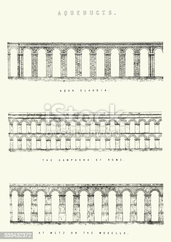 Vintage engraving of Aqueducts. The Aqua Claudia, an aqueduct of ancient Rome. The Campagna of Rome, and at Metz on the Moselle.