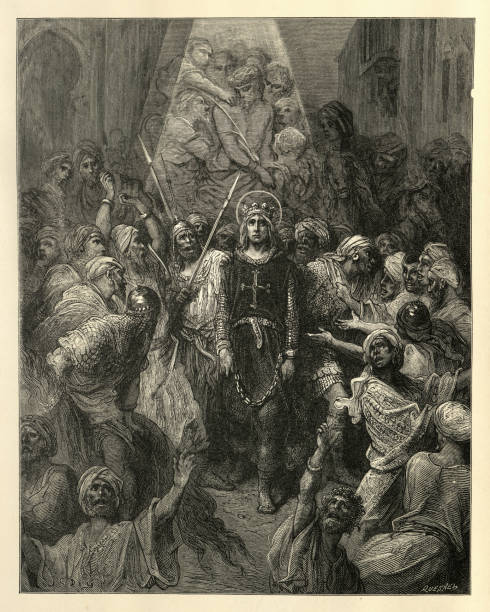 history of crusades, st louis a prisoner in egypt - st louis stock illustrations