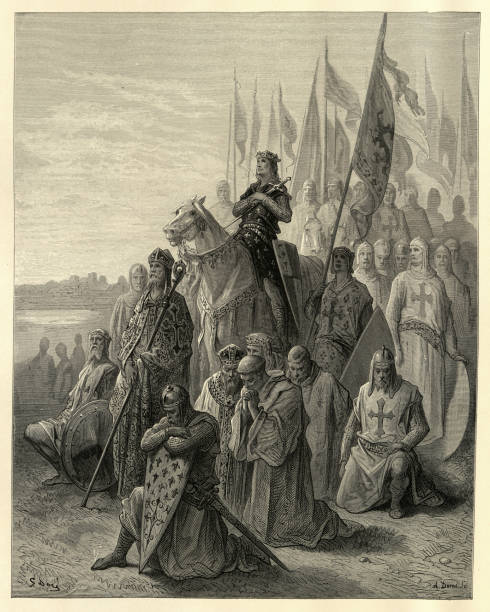 history of crusades, st louis before damietta - st louis stock illustrations