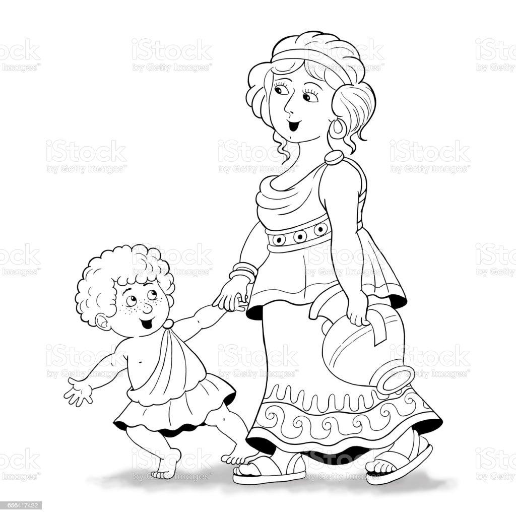 Aile Oykusu Moda Tarihinin Anne Ve Oglu Eski Yunanda Boyama