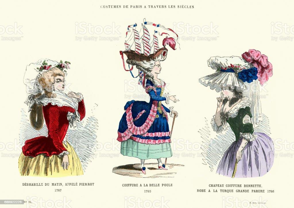 Geschichte Des 18 Jahrhundert Kostüme Hüte Mode Und Frisuren Stock