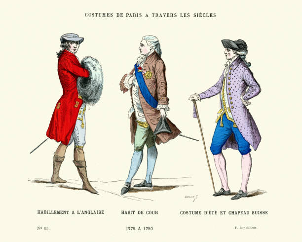 stockillustraties, clipart, cartoons en iconen met history of fashion, 18th century gentlemen's costumes - 18e eeuw