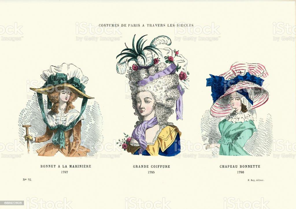 Geschichte Des 18 Jahrhundert Hüte Mode Und Frisuren Stock Vektor
