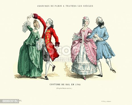 Vintage engraving of History of Fashion, French ballroom costumes, 1762, 18th Century