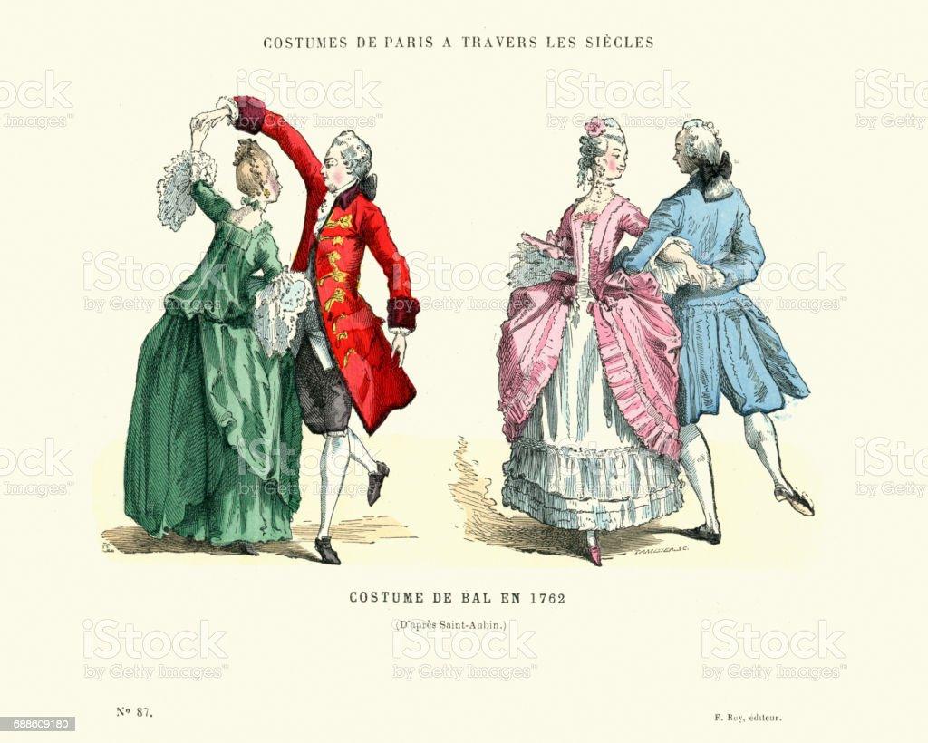 History of Fashion, French ballroom costumes, 1762 vector art illustration
