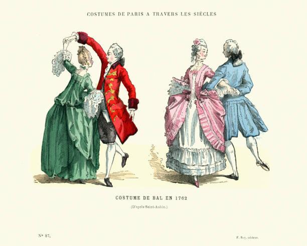 stockillustraties, clipart, cartoons en iconen met geschiedenis van de mode, franse balzaal kostuums, 1762 - 18e eeuw