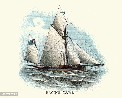 Vintage engraving of a Racing Yawl, 19th Century. A yawl, in the United Kingdom sometimes known as a dandy, is a two-masted sailing craft similar to a sloop or cutter but with an additional mizzenmast.