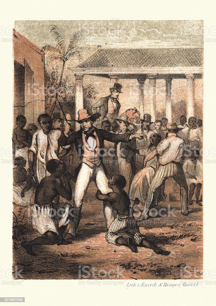History of Slavery - Plantation Master at the Slave market vector art illustration