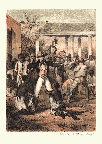 History of Slavery - Plantation Master at the Slave market vector art illustration