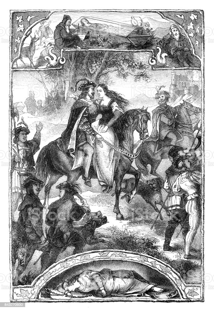 Historia de Blanca Nieves y los siete enanitos 1873 - ilustración de arte vectorial