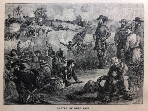 history of the united states - battle of bull run - 1861- illustration - confederate flag stock illustrations, clip art, cartoons, & icons